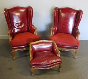 Pair Of Louis Xv Style Leather Upholstered Wing Chairs