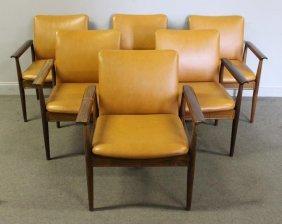 Set Of 6 Finn Juhl Rosewood Diplomat Arm Chairs.