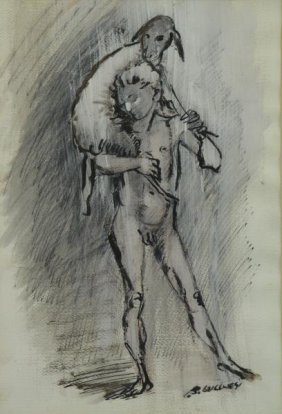 Lucchesi, Bruno. Watercolor. Male Nude With Lamb.
