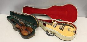 Vintage Harmony Electric Guitar And A Violin
