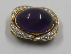 Jewelry. 18kt Gold, Amethyst, And Diamond Clasp.