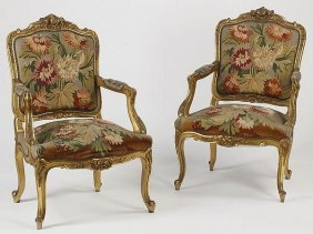 19th C. Pair Of French Louis Xv Style Needlepoint