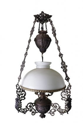 19th C. Gilded Iron Chandelier