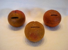 Three Redware Pottery Fruit Still Banks Including A