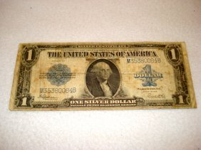 A 1923 $1 Blue Seal Silver Certificate Serial Number