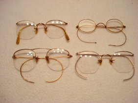 Four Antique Gold Filled Spectacles Including Three