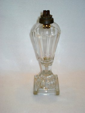 Clear Flint Glass Whale Oil Lamp With Double Burner.
