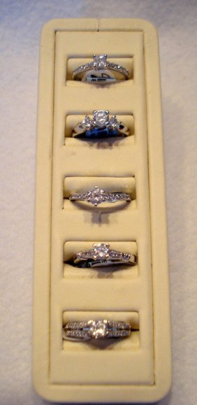 Lot Of Five Sterling Silver And Synthetic Diamonds