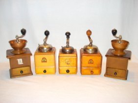 Lot Of Five Vintage Armin Trosser Wooden Coffee Mills