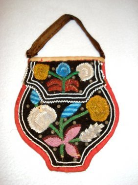 Native American Iroquois Beaded Bag, Double Sided, Late