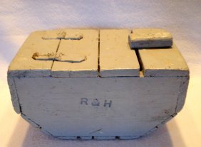 Painted Wooden Bait Box Embossed R&h
