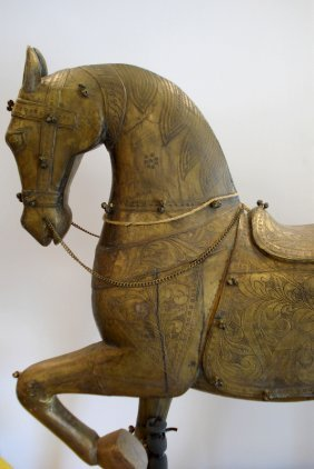 Large Wood And Brass Sheathing Malwari Horse Statue