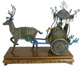 Antique Chinese Silver Filigree & Enamel Rickshaw