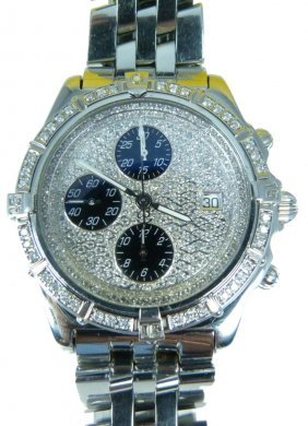 Breitling Mens Diamond Ss Crosswind Watch