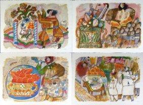 """Theo Tobiasse """"shavuot"""" Portfolio Of Four Lithos"""