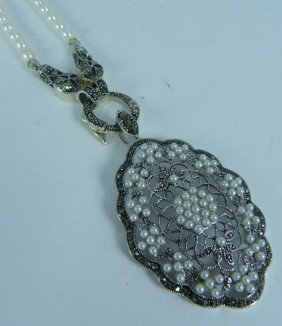 Sterling Pearl Marcasite Necklace W Pendant