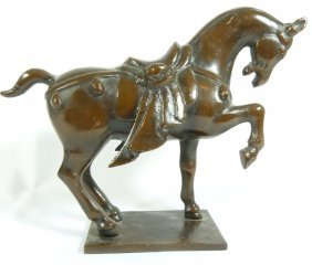 Vintage Cast Iron Tang Style Horse Sculpture
