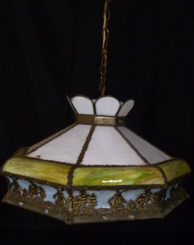 Early 20th.c Vintage Slag Glass & Brass Chandelier