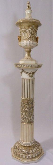 Large Capodimonte Italian Porcelain Urn & Pedestal