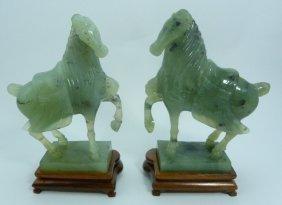 Pair Kuang Hsu Jade Ming Style Horse Carving