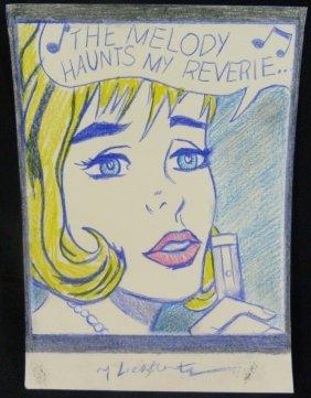 Roy Lichtenstein Pencil Sketch On Paper