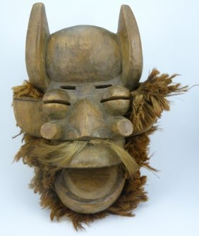 Antique African Tribal Hand Carved Wood Mask