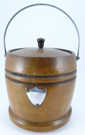 Antique Wood Barrel Ice Bucket W Porcelain Insert
