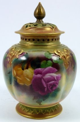 "Royal Worcester ""hadley Rose"" Covered Bowl"