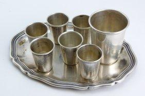 German 835 Eight Piece Silver Kiddush Cup Set