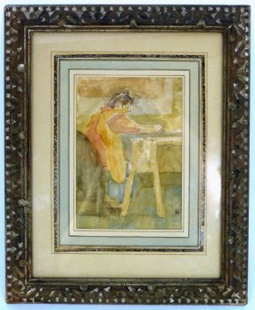 "David Levine Watercolor ""garment Worker"""