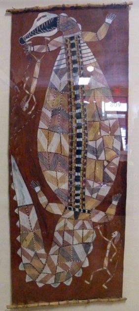 Djayhgurrna Aboriginal Bark Painting Crocodile