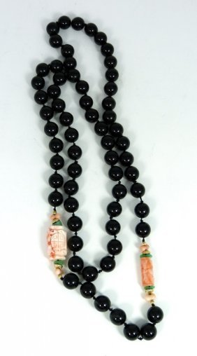 Black Onyx W Coral & 14k Beaded Necklace