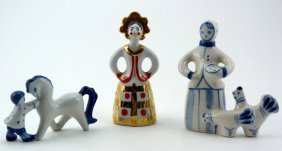 Russian U.s.s.r. Hand Painted Porcelain Figures