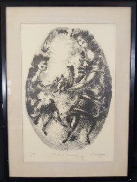 "Chaim Gross ""mother Playing"" Signed Lithograph"