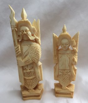 Carved Ivory Chess King And Queen