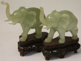 Pair Of Chinese Carved Serpentine Elephants