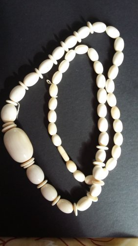"""Antique 30"""" Beaded Ivory Necklace"""