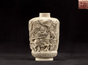 Late 19th Carved Walrus Ivory Snuff Bottle