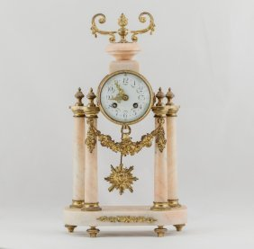 Antique French Gilt Bronze And Marble Clock