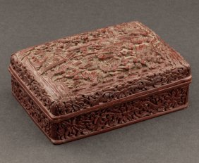 Chinese Antique Cinnabar Lacquer Jewelery Box