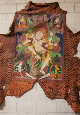 19th Chinese Antique Cowhide Tibet Tangka