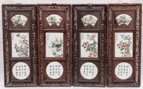 Chinese Antique Hand Painted Porcelain Hanging Panel
