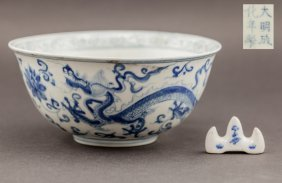 Two Set Of Ming Style Chinese Antique Large Blue& White