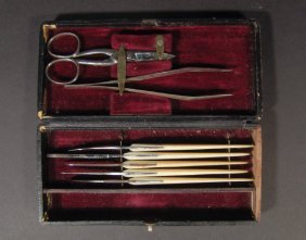 Collection Of 19th Century Ivory Handled Nail Tool