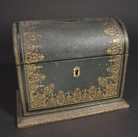 19th Century Tooled Green Leather Dome Topped Stat