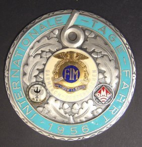 German 1956 Enamelled Metal Badge Stamped E.F.Wied