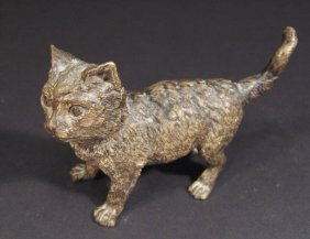 Bronze Study Of A Cat, Stamped G. E. Schutzt To Th