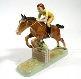 Large Hand Painted Beswick Female Jockey On Horseb