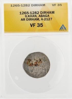 1265-1282 Dirham Ilkhan Abaga AR Dirham A-2127 Coin