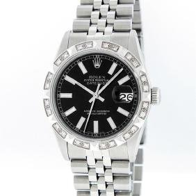 Rolex Mens Stainless Steel Diamond Datejust Wristwatch